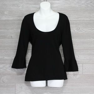 Women's Ann Taylor LOFT Black Scoop Neck Size L